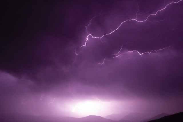 lightning on the sky